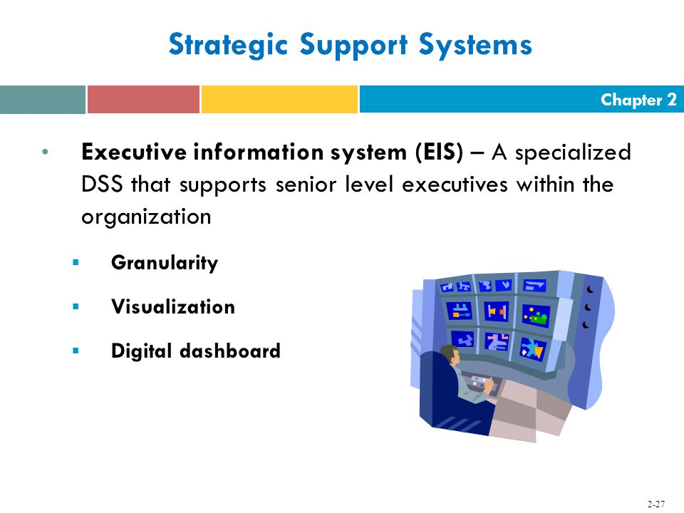 Chapter Strategic Support Systems Executive information system (EIS) – A specialized DSS that supports senior level executives within the organization  Granularity  Visualization  Digital dashboard