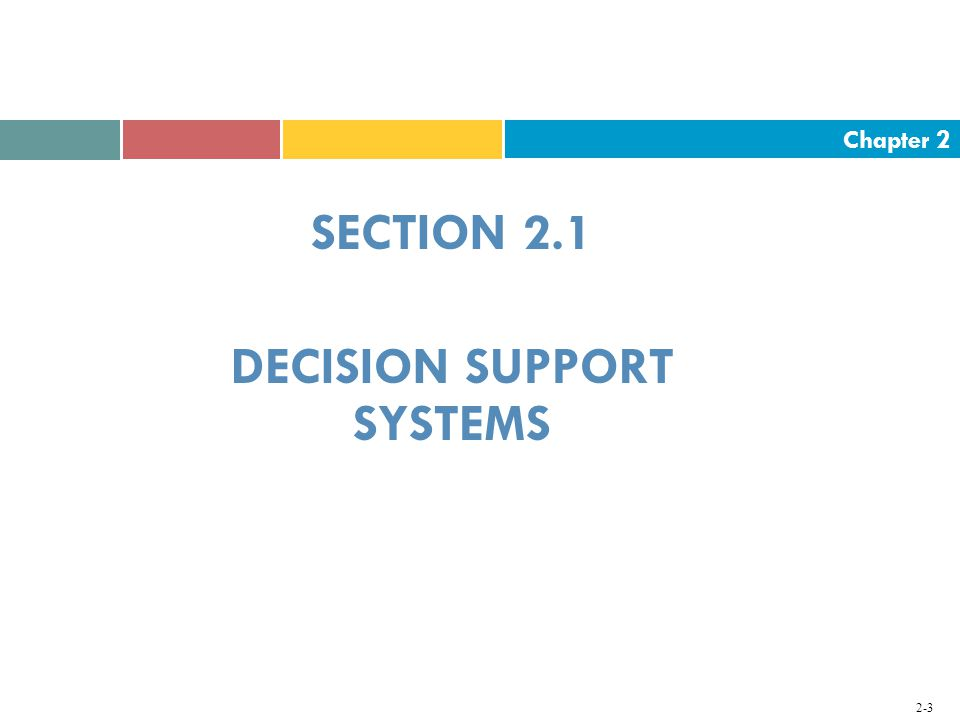 Chapter SECTION 2.1 DECISION SUPPORT SYSTEMS