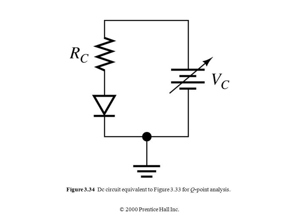 © 2000 Prentice Hall Inc. Figure 3.34 Dc circuit equivalent to Figure 3.33 for Q-point analysis.