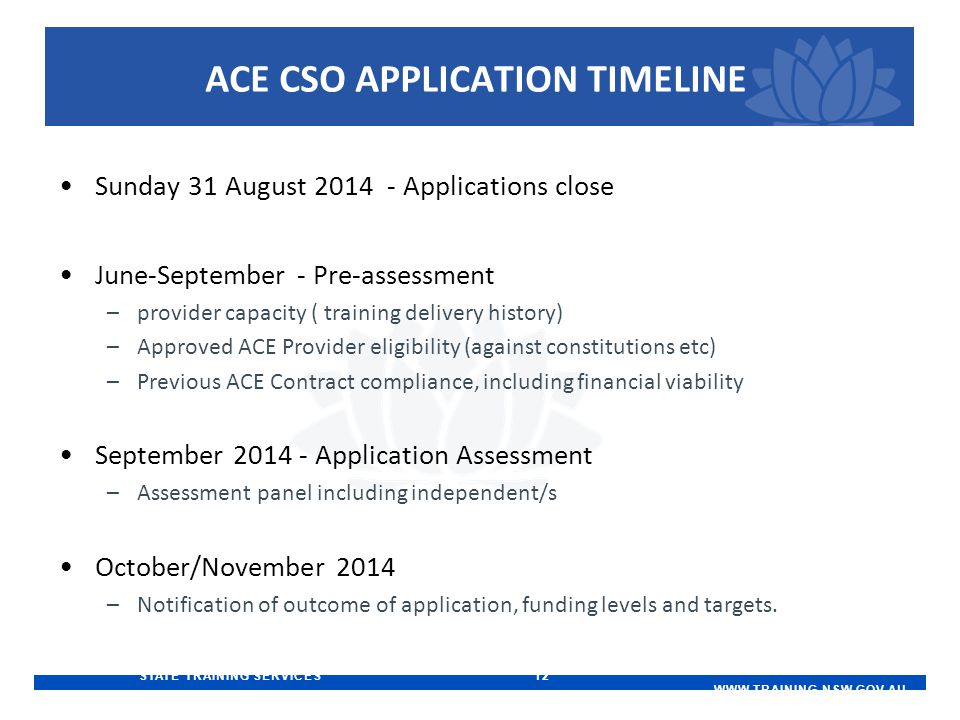STATE TRAINING SERVICES 12   ACE CSO APPLICATION TIMELINE Sunday 31 August Applications close June-September - Pre-assessment –provider capacity ( training delivery history) –Approved ACE Provider eligibility (against constitutions etc) –Previous ACE Contract compliance, including financial viability September Application Assessment –Assessment panel including independent/s October/November 2014 –Notification of outcome of application, funding levels and targets.