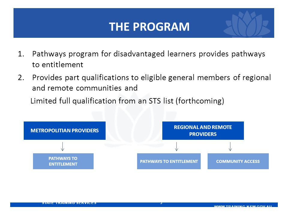 STATE TRAINING SERVICES 3   THE PROGRAM 1.Pathways program for disadvantaged learners provides pathways to entitlement 2.Provides part qualifications to eligible general members of regional and remote communities and Limited full qualification from an STS list (forthcoming) METROPOLITIAN PROVIDERS PATHWAYS TO ENTITLEMENT REGIONAL AND REMOTE PROVIDERS COMMUNITY ACCESS PATHWAYS TO ENTITLEMENT