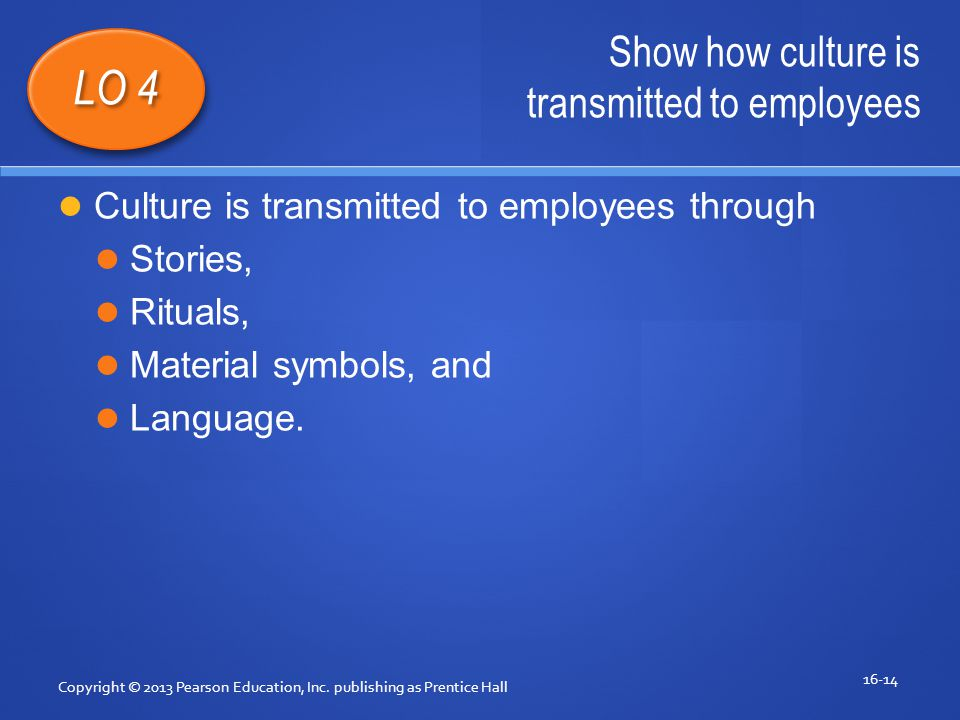 Show how culture is transmitted to employees Copyright © 2013 Pearson Education, Inc.