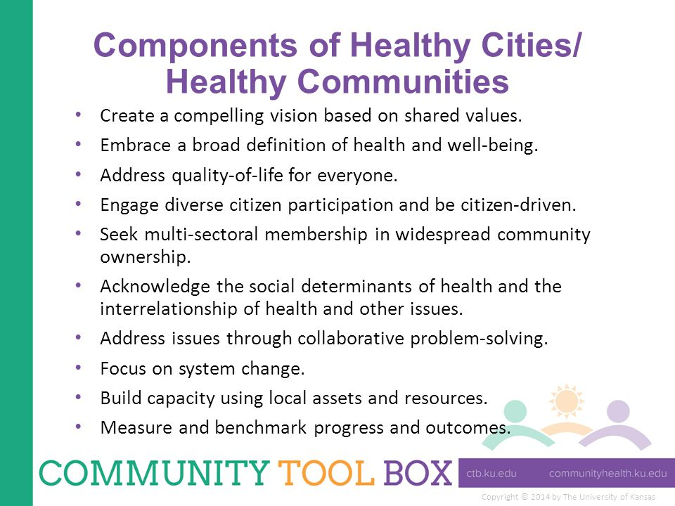 Copyright © 2014 by The University of Kansas Components of Healthy Cities/ Healthy Communities Create a compelling vision based on shared values.