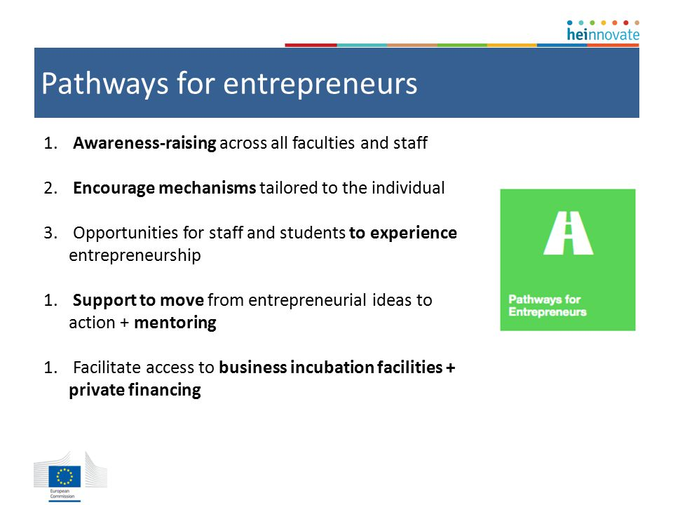 Pathways for entrepreneurs 1. Awareness-raising across all faculties and staff 2.