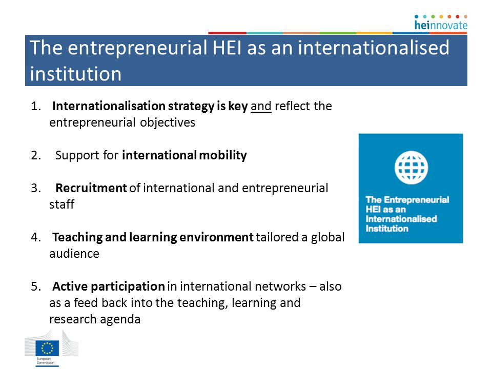 The entrepreneurial HEI as an internationalised institution 1.