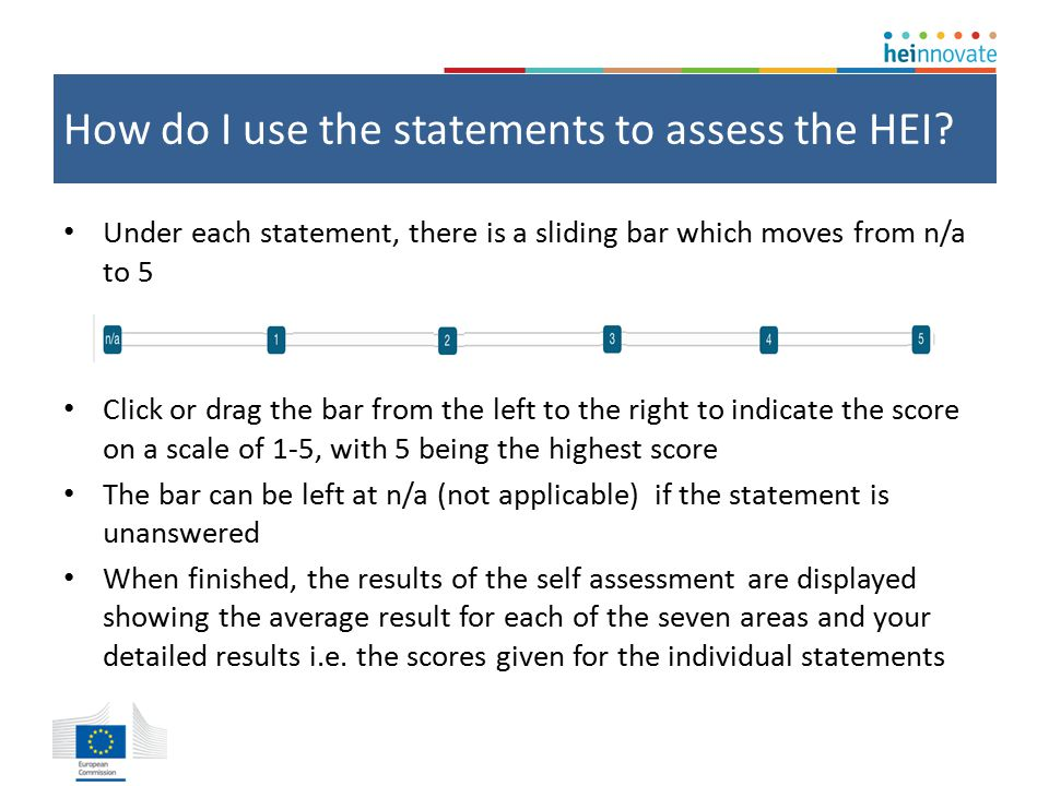 How do I use the statements to assess the HEI.