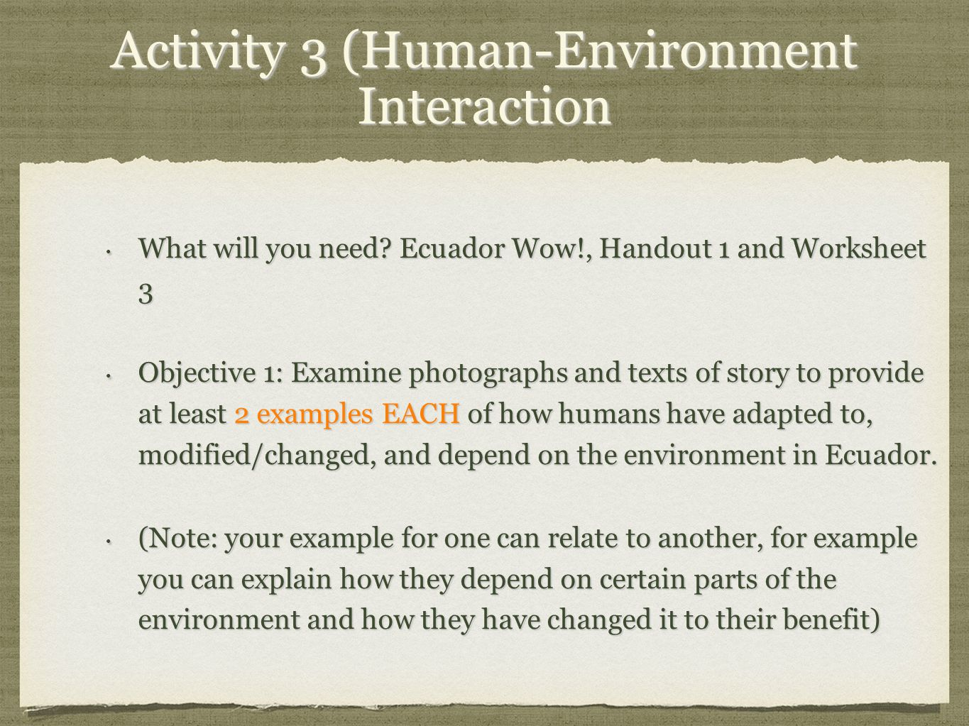 5 themes of Geography of Ecuador. Activity 1 (Location What do I ...