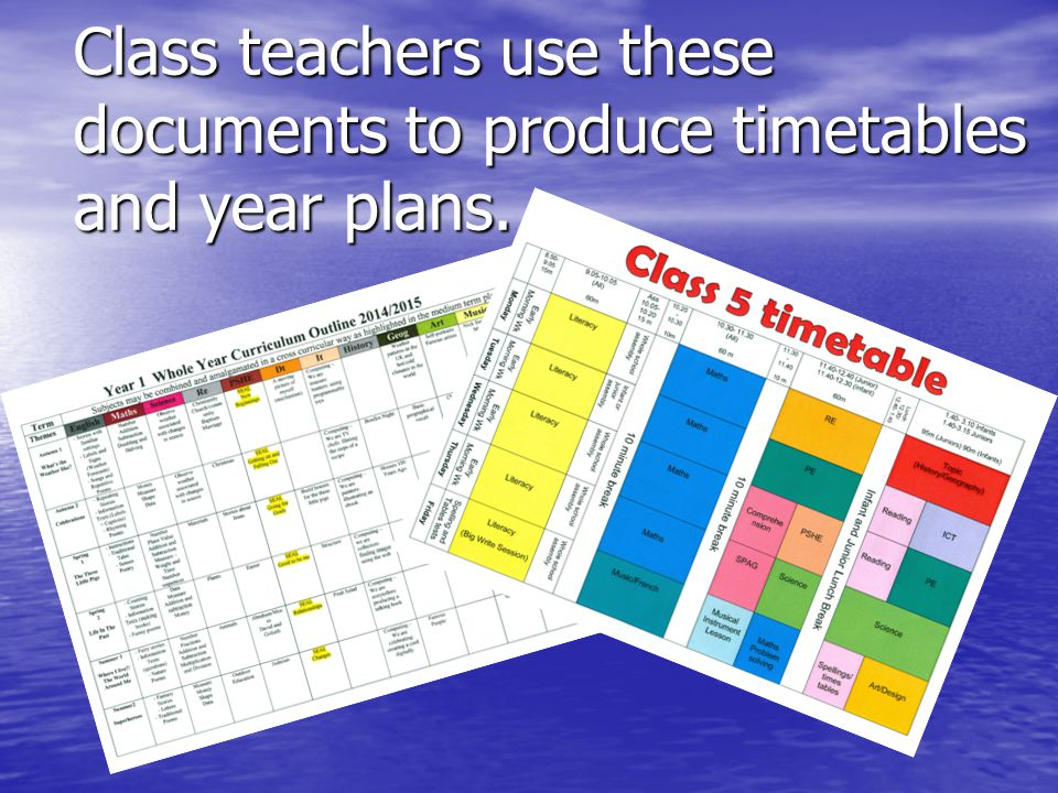 Class teachers use these documents to produce timetables and year plans.
