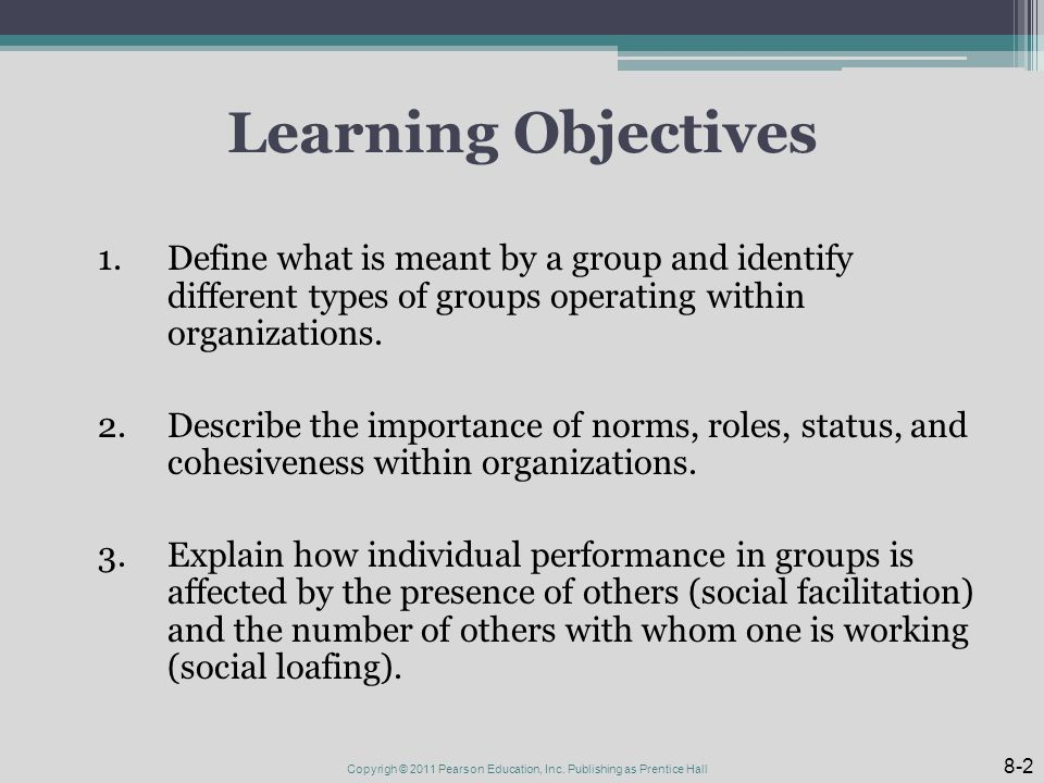Learning Objectives 1.Define what is meant by a group and identify different types of groups operating within organizations.
