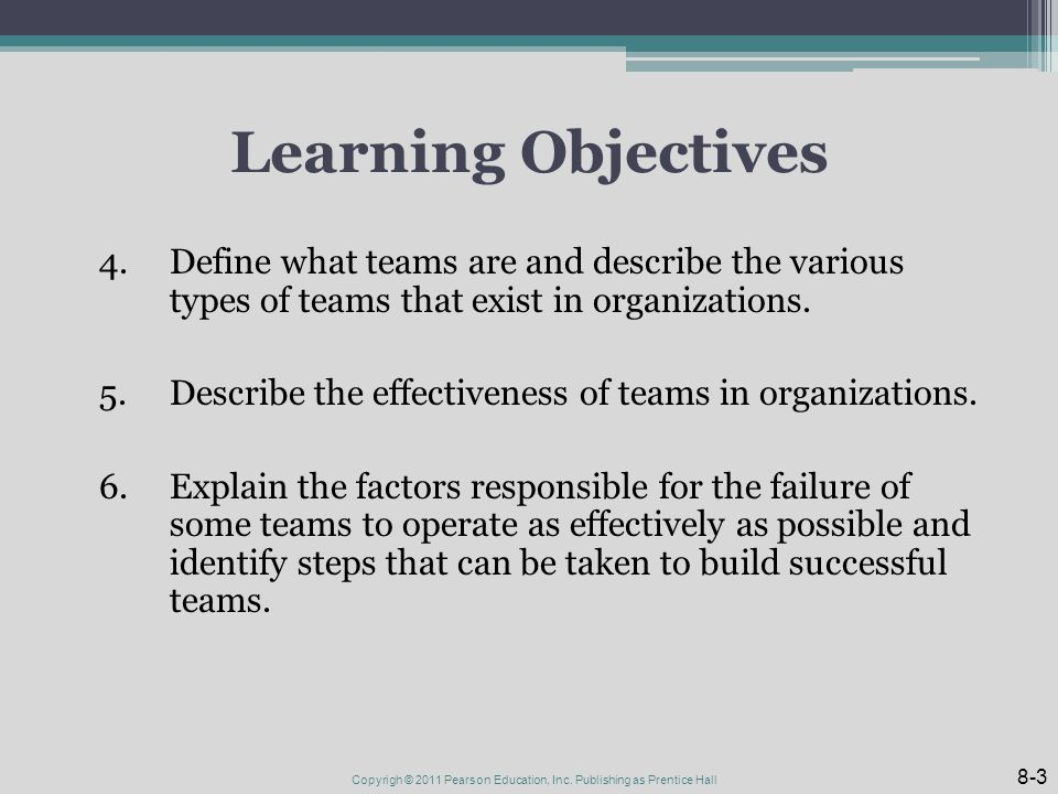 Learning Objectives 4.Define what teams are and describe the various types of teams that exist in organizations.