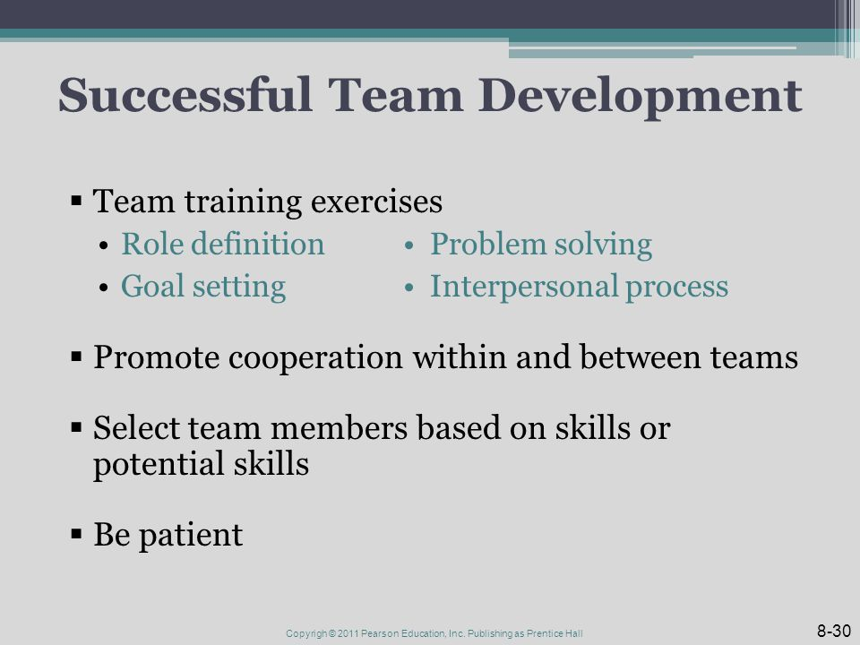 Successful Team Development  Team training exercises Role definition Problem solving Goal setting Interpersonal process  Promote cooperation within and between teams  Select team members based on skills or potential skills  Be patient 8-30 Copyrigh © 2011 Pearson Education, Inc.