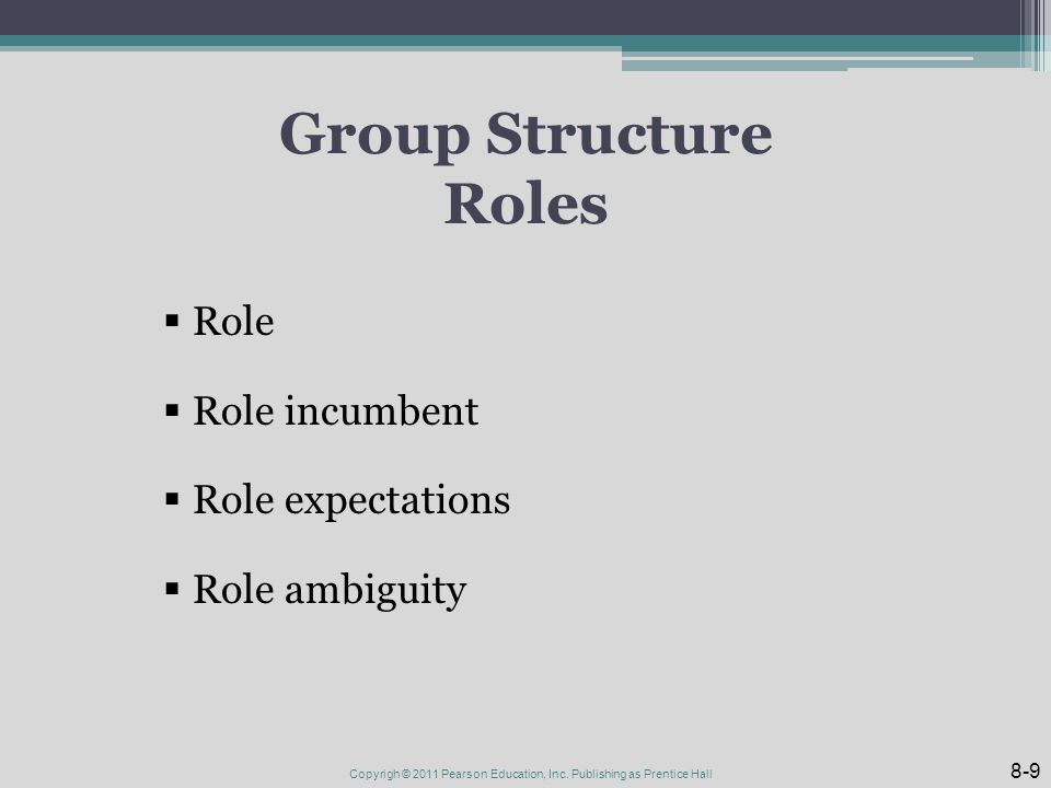 Group Structure Roles  Role  Role incumbent  Role expectations  Role ambiguity 8-9 Copyrigh © 2011 Pearson Education, Inc.