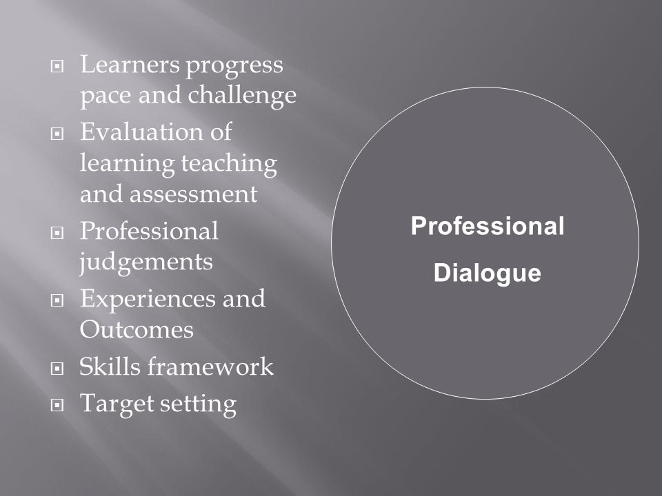  Learners progress pace and challenge  Evaluation of learning teaching and assessment  Professional judgements  Experiences and Outcomes  Skills framework  Target setting Professional Dialogue