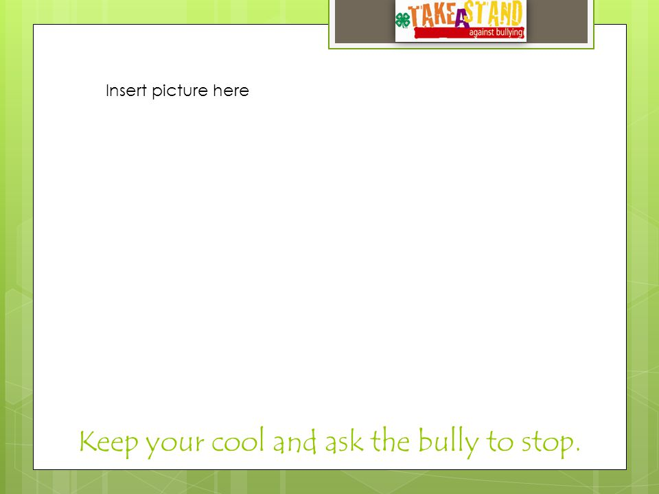 Keep your cool and ask the bully to stop. Insert picture here