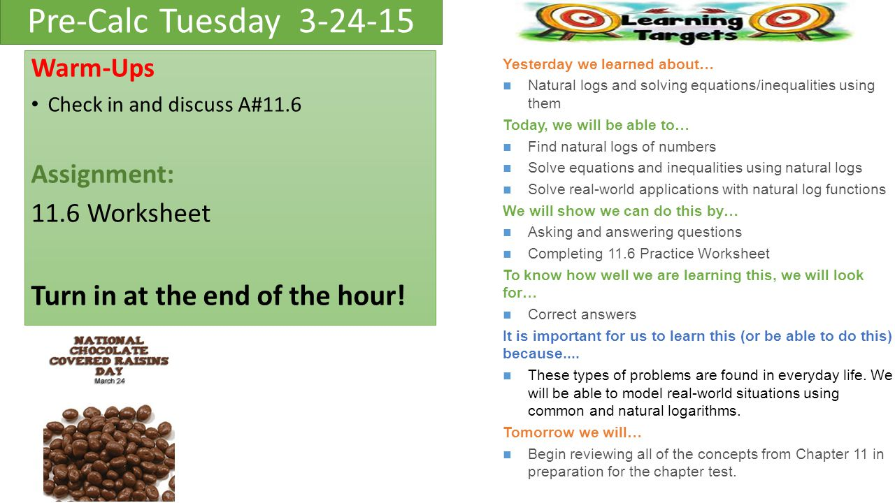 Pre-Calc Monday Warm ups: Discuss/Review 11.5 WS from Friday ...