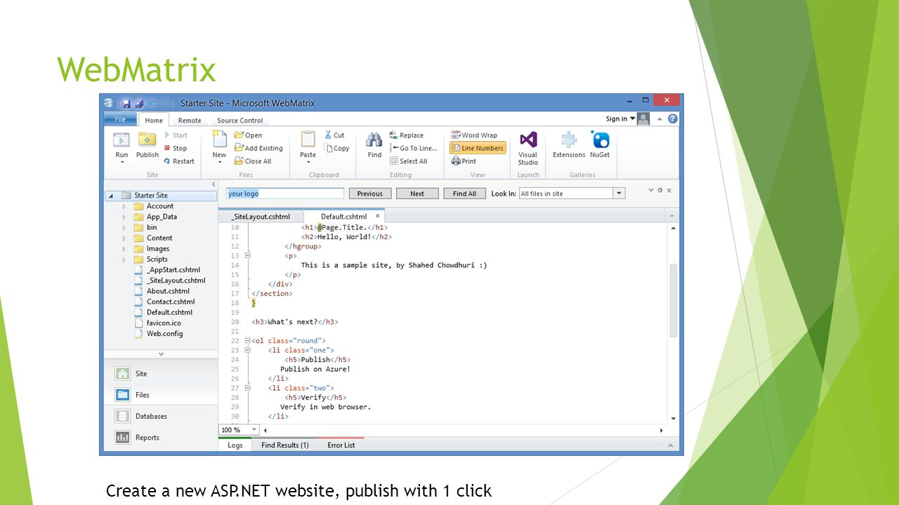 WebMatrix Create a new ASP.NET website, publish with 1 click