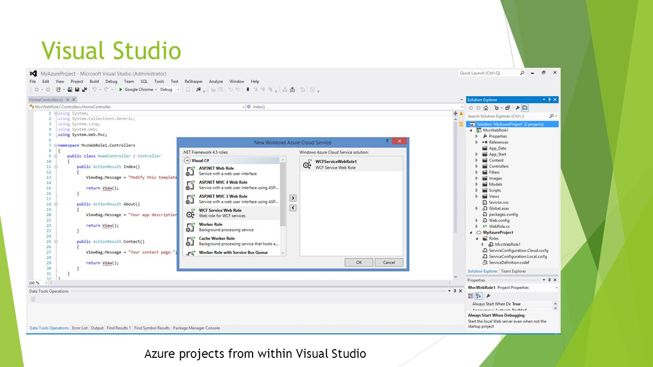 Visual Studio Azure projects from within Visual Studio