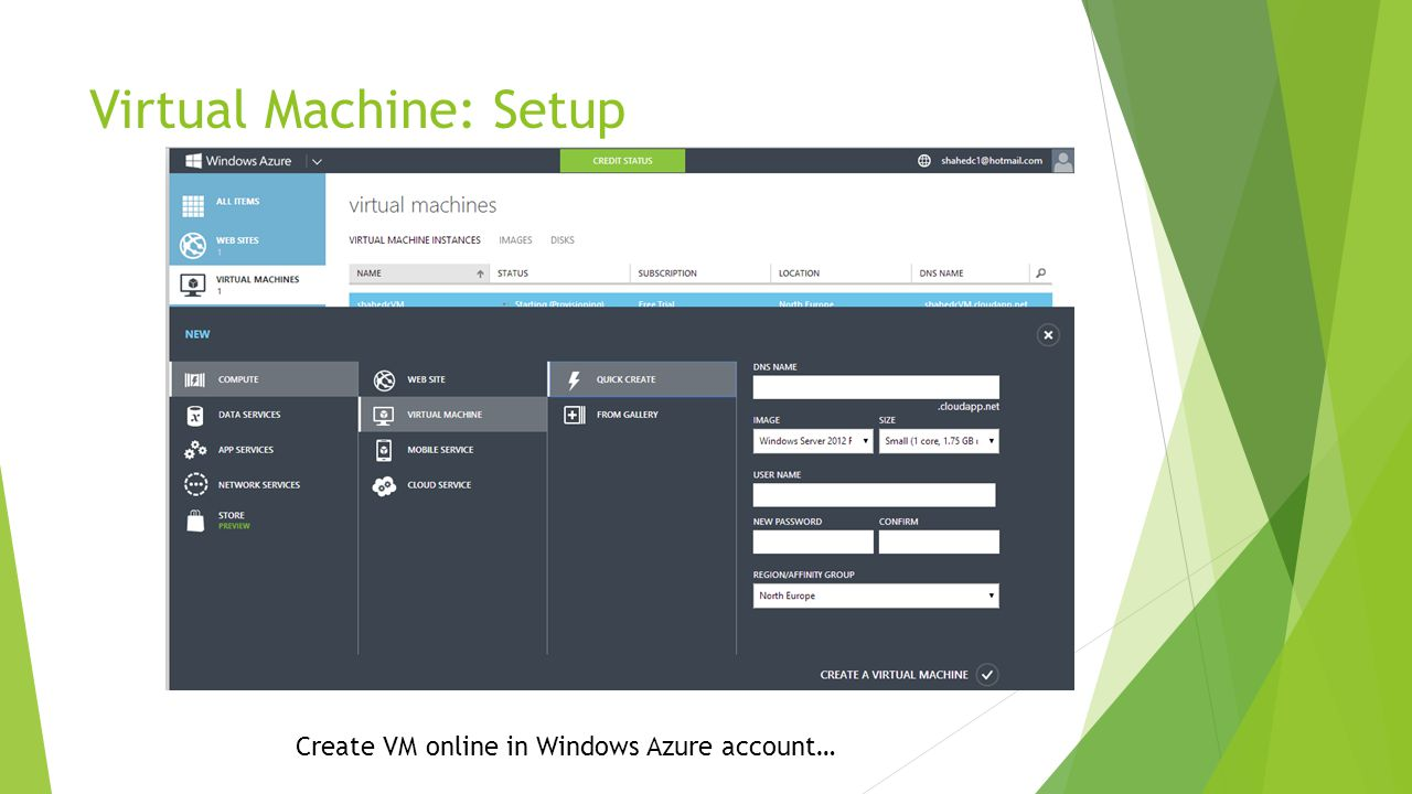 Virtual Machine: Setup Create VM online in Windows Azure account…