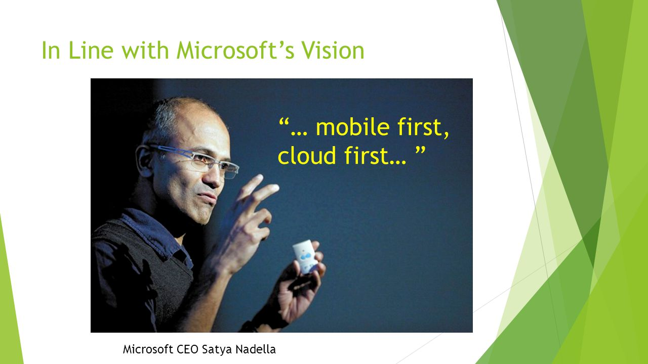 In Line with Microsoft's Vision … mobile first, cloud first… Microsoft CEO Satya Nadella