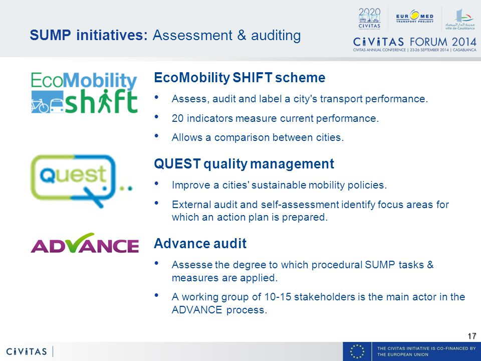 17 SUMP initiatives: Assessment & auditing EcoMobility SHIFT scheme Assess, audit and label a city s transport performance.