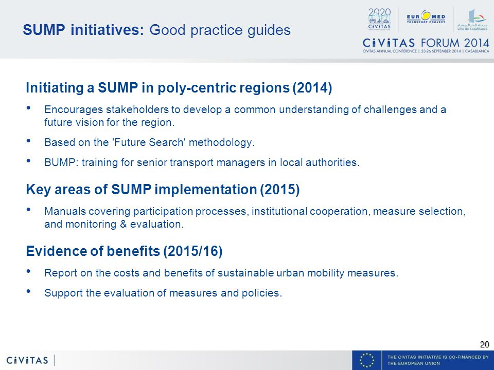 20 SUMP initiatives: Good practice guides Initiating a SUMP in poly-centric regions (2014) Encourages stakeholders to develop a common understanding of challenges and a future vision for the region.