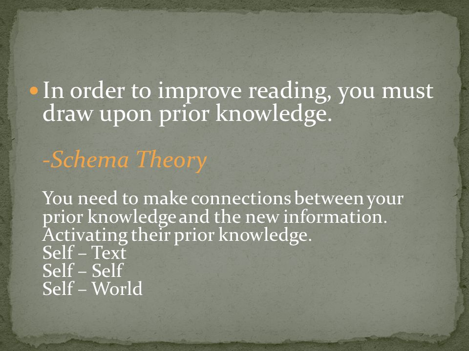 In order to improve reading, you must draw upon prior knowledge.