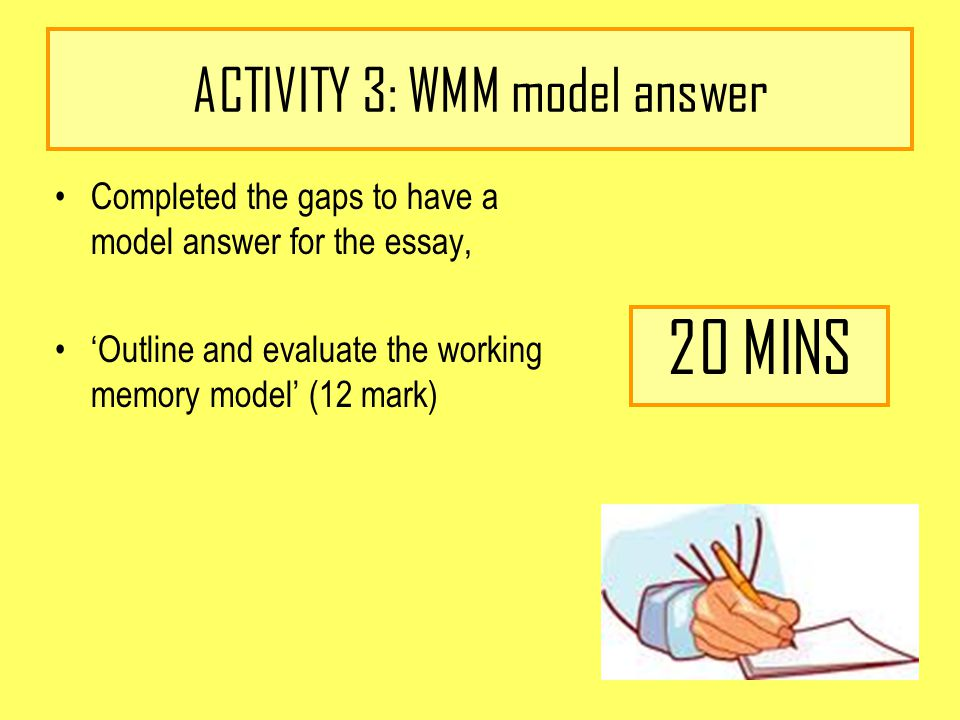 working memory model essay plan Outline and evaluate the working memory model (12 marks) the working memory model was found by baddeley and hitch because they thought that the multi-store model by atkinson and shiffron is too simple.