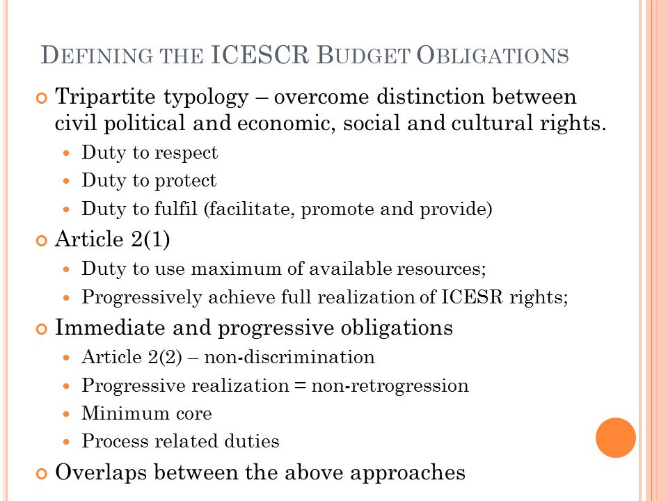 D EFINING THE ICESCR B UDGET O BLIGATIONS Tripartite typology – overcome distinction between civil political and economic, social and cultural rights.