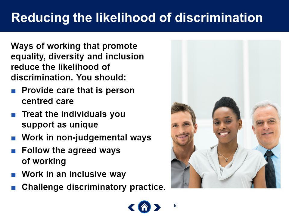 how working in an inclusive way reduces likelihood of discrimination Assignment 203 city & guilds nvq lvl ii in explain how working in an inclusive way which recognises difference, can reduce the likelihood of discrimination.