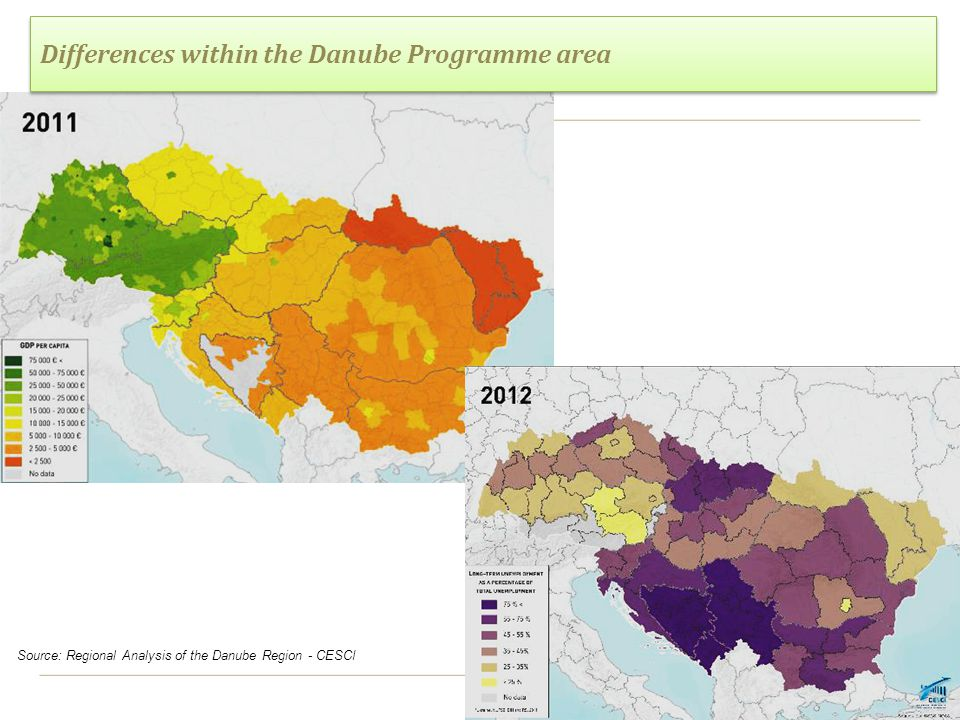 3 Differences within the Danube Programme area Source: Regional Analysis of the Danube Region - CESCI