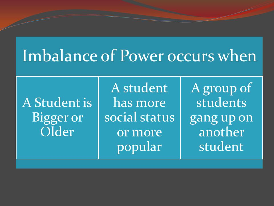 Imbalance of Power occurs when A Student is Bigger or Older A student has more social status or more popular A group of students gang up on another student