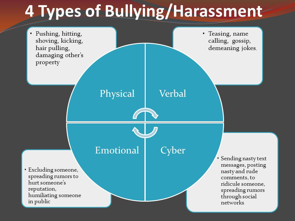 4 Types of Bullying/Harassment Sending nasty text messages, posting nasty and rude comments, to ridicule someone, spreading rumors through social networks Excluding someone, spreading rumors to hurt someone's reputation, humiliating someone in public Teasing, name calling, gossip, demeaning jokes, Pushing, hitting, shoving, kicking, hair pulling, damaging other's property PhysicalVerbal CyberEmotional