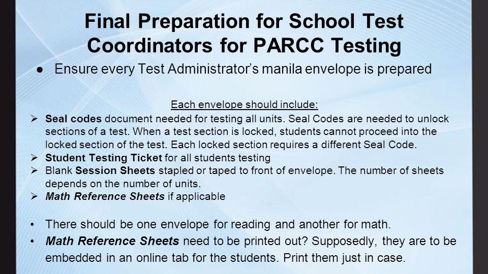 PARCC Training for School Test Coordinators (STC) Live Test – Blue ...