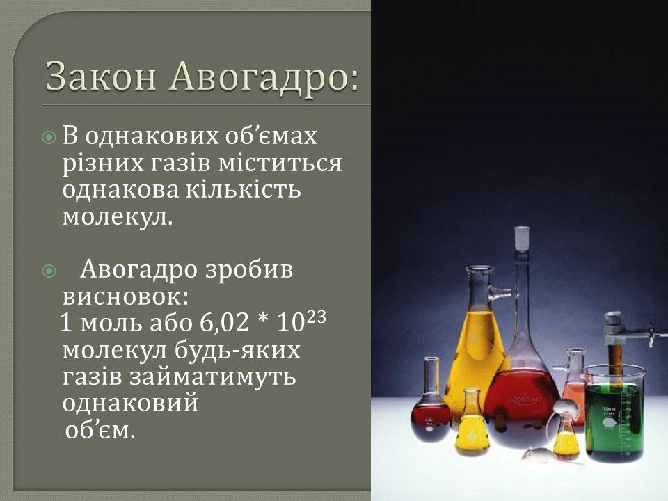  В однакових об ' ємах різних газів міститься однакова кількість молекул.  Авогадро зробив висновок : 1 моль або 6,02 * 10 23 молекул будь - яких га