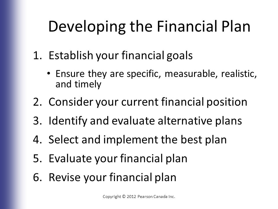 Developing the Financial Plan 1.Establish your financial goals Ensure they are specific, measurable, realistic, and timely 2.Consider your current financial position 3.Identify and evaluate alternative plans 4.Select and implement the best plan 5.Evaluate your financial plan 6.Revise your financial plan Copyright © 2012 Pearson Canada Inc.