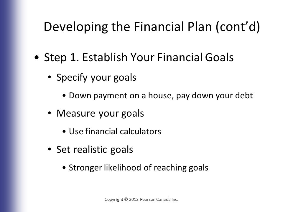Developing the Financial Plan (cont'd) Step 1.