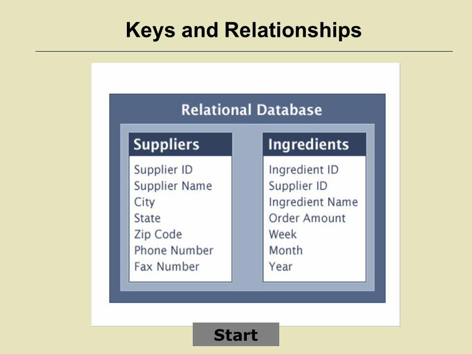 Keys and Relationships Start