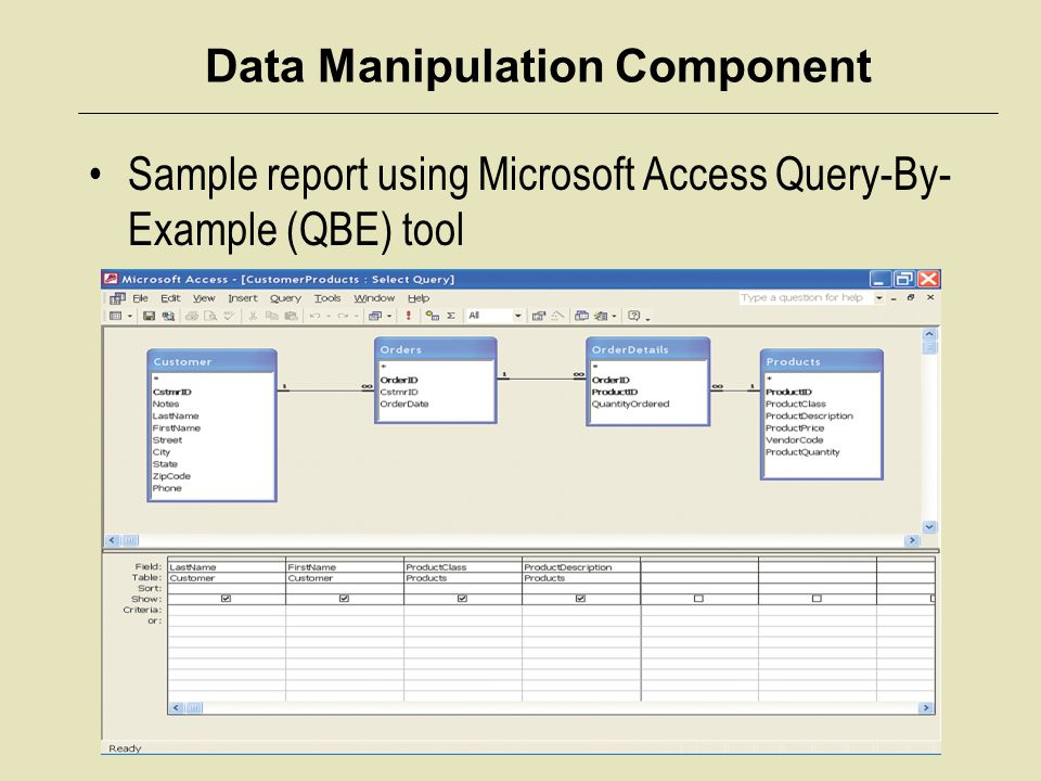 Data Manipulation Component Sample report using Microsoft Access Query-By- Example (QBE) tool