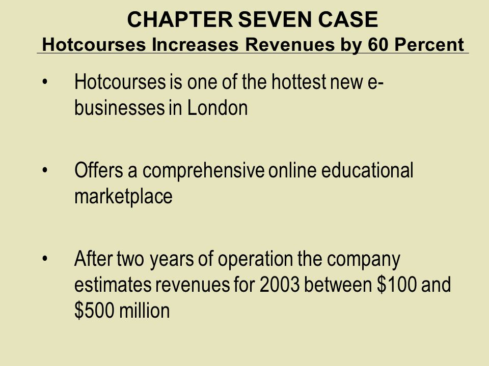CHAPTER SEVEN CASE Hotcourses Increases Revenues by 60 Percent Hotcourses is one of the hottest new e- businesses in London Offers a comprehensive onl