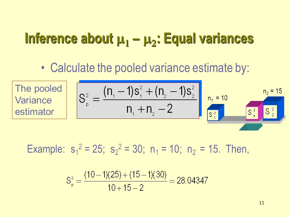 11 Inference about    –   : Equal variances Example: s 1 2 = 25; s 2 2 = 30; n 1 = 10; n 2 = 15.
