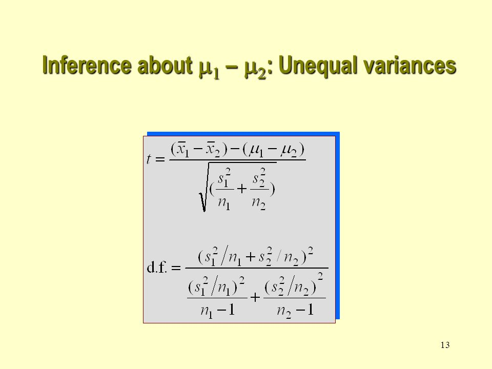 13 Inference about    –   : Unequal variances