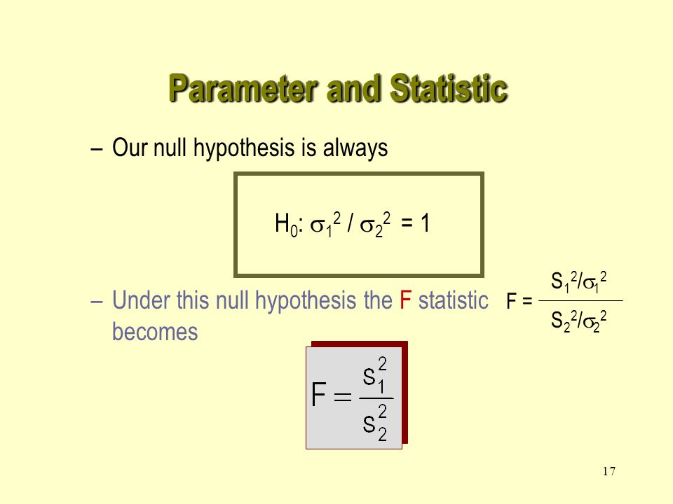 17 –Our null hypothesis is always H 0 :  1 2 /  2 2 = 1 –Under this null hypothesis the F statistic becomes F = S12/12S12/12 S22/22S22/22 Parameter and Statistic