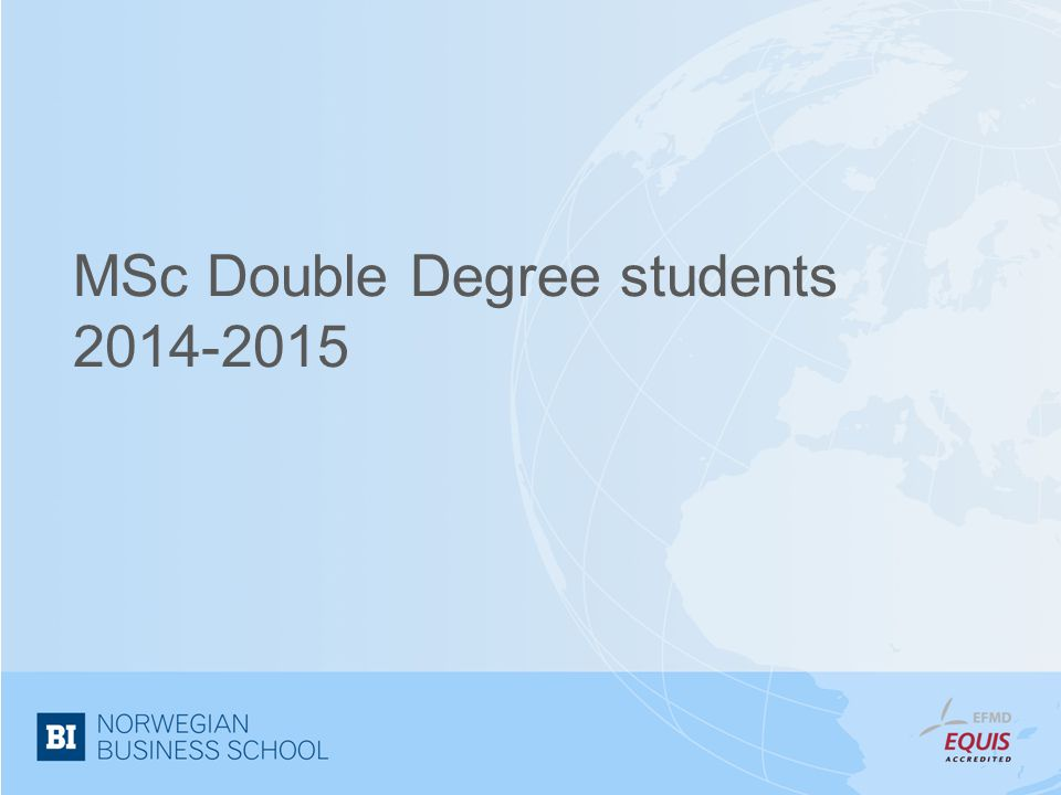MSc Double Degree students
