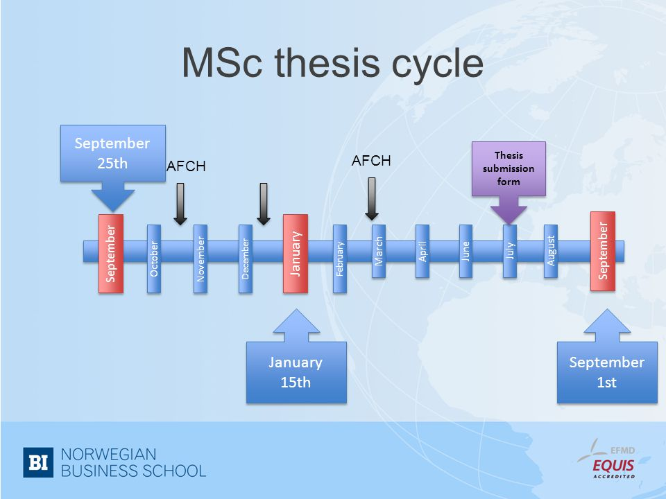 MSc thesis cycle January 15th September 25th September 1st October September April November July June August February March December January Septembe r AFCH Thesis submission form