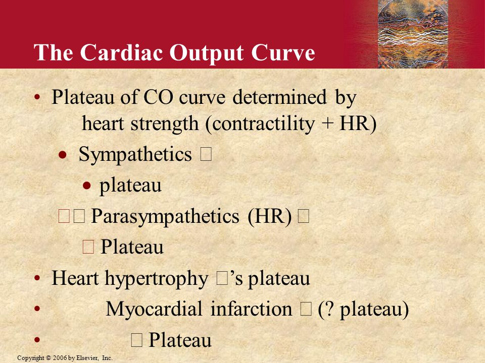 Plateau of CO curve determined by heart strength (contractility +  HR)  Sympathetics   plateau  Parasympathetics (HR  )   Plateau Heart hypertrophy  's plateau Myocardial infarction  plateau)  Plateau The Cardiac Output Curve