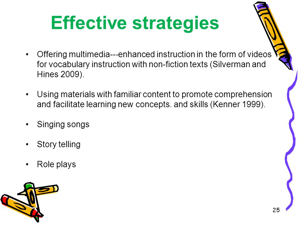 Effective strategies Offering multimedia-- ‐ enhanced instruction in the form of videos for vocabulary instruction with non-fiction texts (Silverman and Hines 2009).
