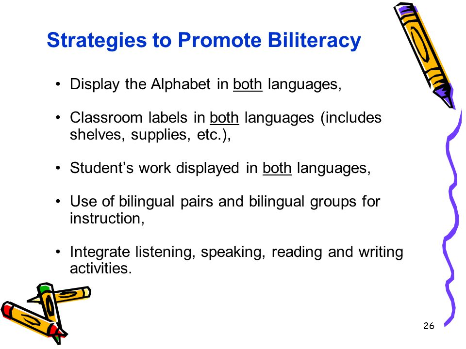 26 Strategies to Promote Biliteracy Display the Alphabet in both languages, Classroom labels in both languages (includes shelves, supplies, etc.), Student's work displayed in both languages, Use of bilingual pairs and bilingual groups for instruction, Integrate listening, speaking, reading and writing activities.