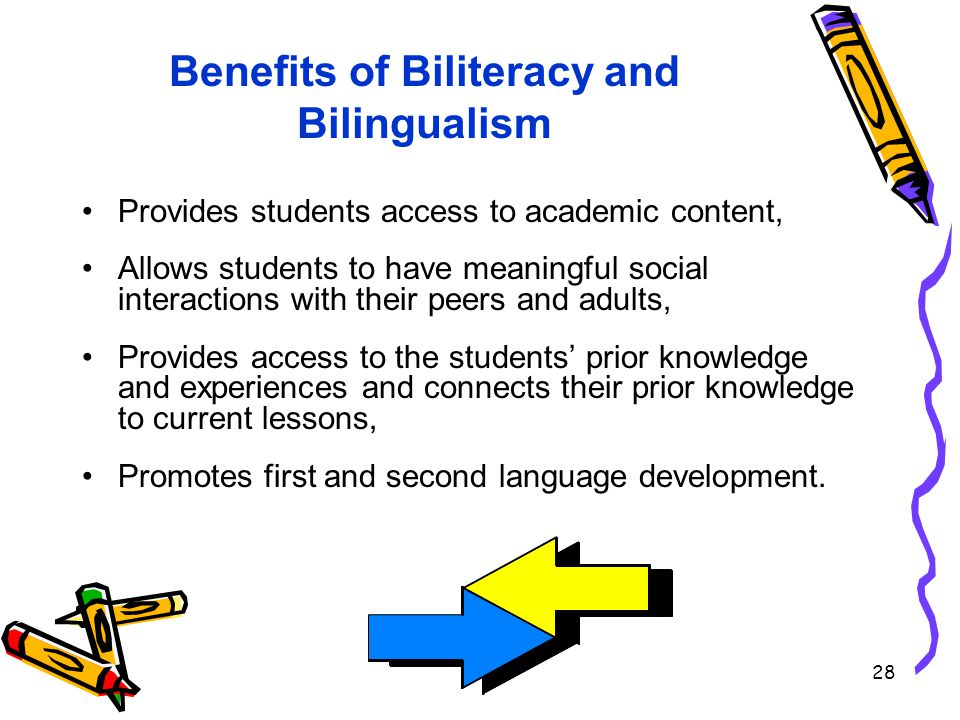 28 Benefits of Biliteracy and Bilingualism Provides students access to academic content, Allows students to have meaningful social interactions with their peers and adults, Provides access to the students' prior knowledge and experiences and connects their prior knowledge to current lessons, Promotes first and second language development.