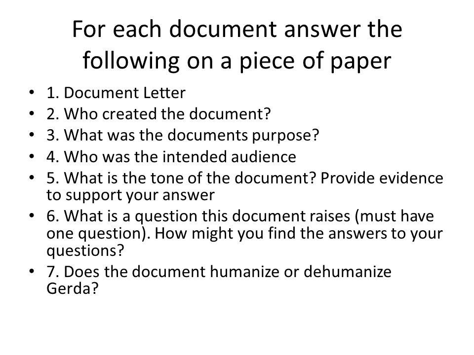 One Survivor Remembers Document Analysis. Gerda Weissman Klein (b ...
