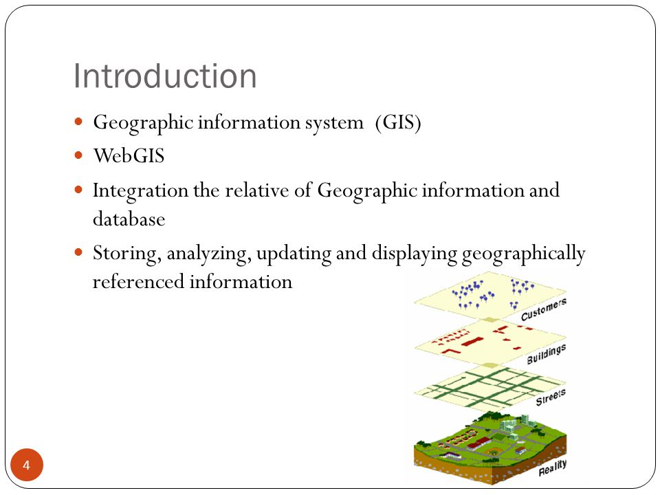 Introduction Geographic information system (GIS) WebGIS Integration the relative of Geographic information and database Storing, analyzing, updating and displaying geographically referenced information 4